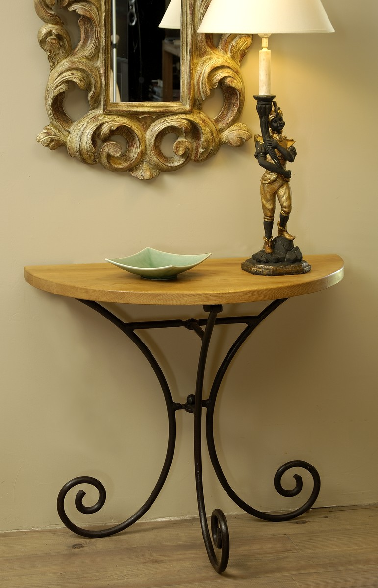 Console fer forg demi lune r f rence cons201201 pictures for Table demi lune fer forge